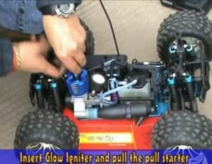 Insert glow plug igniter and pull starter