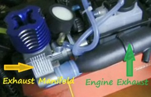 Redcat Racing Exhaust manifold and engine exhaust